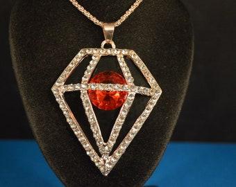 Large Diamond Shaped PENDANT - NECKLACE   Fashion Jewelry!  Brand New!  Vibrant  Bright    1960's Style   sixties  gold tone