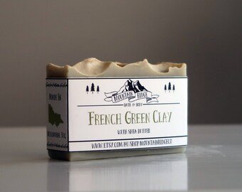 French Green Clay Soap - Handmade Soap, Cold Process Soap, Shea Butter, Palm Free Soap