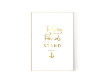 Hillsong Quote Gold Foil Print
