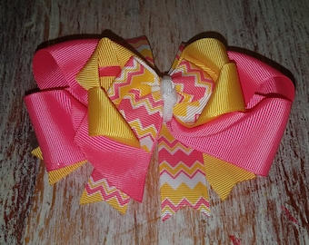 """6"""" Layered boutique bow ready for spring!"""