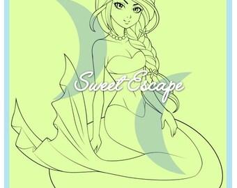 Mermaid Digital Stamp