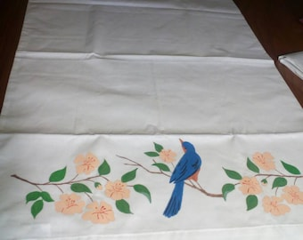 Pillowcase #3  Hand Painted Blue Bird of Happiness pillow cases