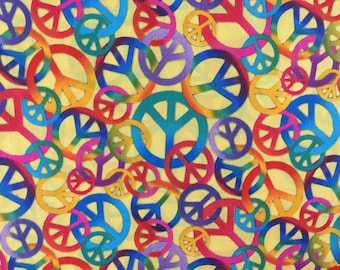 Travel Pillow Case / Child Pillow Case / Rainbow Peace Signs / Yellow