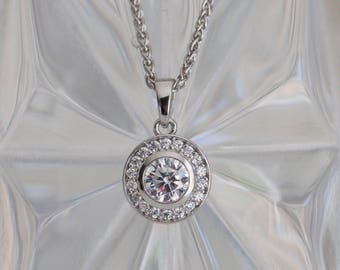 SALE - Sterling Silver Round Cubic Zirconia Cluster Pendant with WheatChain - Perfect for Brides!