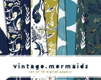Vintage Mermaids Digital Paper Pack in Navy and Chartreuse (Set of 10)