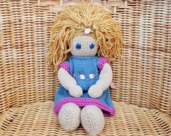 "Handmade doll, 12"" Hand Knitted doll, Blonde hair doll, Fair hair doll, Blue eye doll, Soft Merino Wool Doll, Removable Knitted Doll Dress"