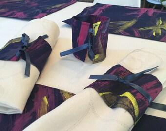Hand painted Navy fabric napkin