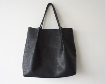 Black Leather Tote / Women Shoulder Bag  /  Black Goat Leather Bag Lined