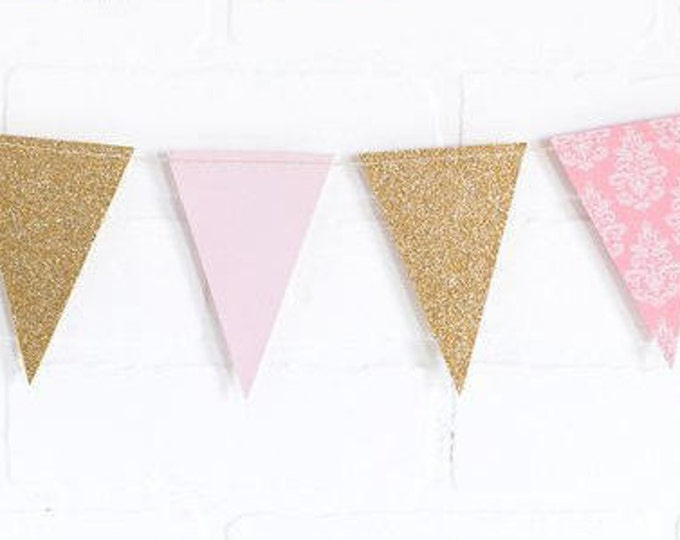 Gold and Pink Pennant Garland, Pink First Birthday Banner, Metallic Gold Pennant Banner, Birthday Party Banner, Baby Shower Bunting | PNP405