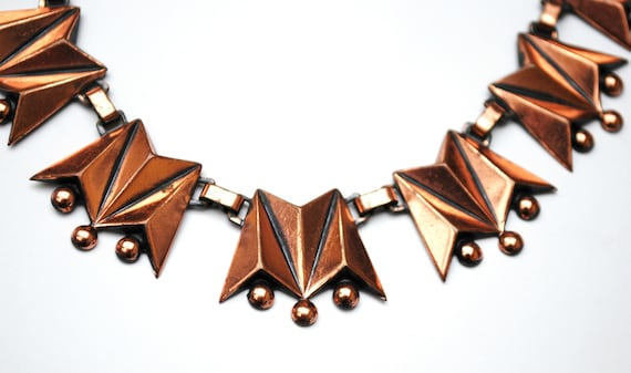 Copper link Necklace - Signed Renoir - modernistic Abstract Triangle  -  Mid century Mod