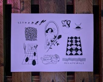 A3 'melancholy' tattoo flash pink screenprint.