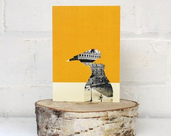 Greetings Card, Blue Tit Thief , Yellow card, Vintage postcard