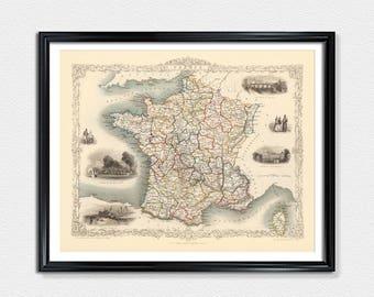France Map, Map Prints, France poster print, vintage map prints, old maps, wall map, map of France