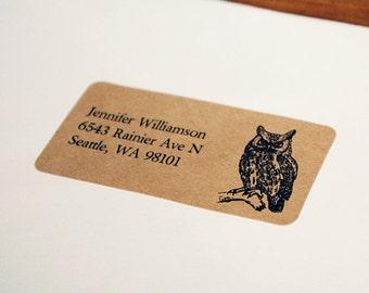 Custom Return Address Labels - Owl Address Labels, Brown Kraft Address Labels, Custom Printed Address Labels, Wedding Return Address Labels