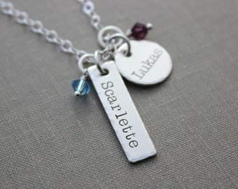 Mommy necklace sterling Silver Two Names Bar circle Necklace - Swarovski Crystal Birthstone, Personalized, Nameplate, Mom Jewelry