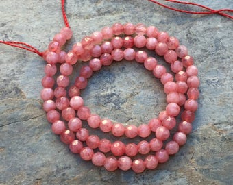 Pink Agate Beads, Medium Pink Faceted Pink Agate Beads, 4 mm, 14.5 inch strand