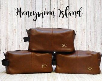 Gifts for Groomsmen - Set of 3 - Mens Toiletry Bag - Groomsmen Gift Ideas - Groomsmen Dopp Kit - Monogrammed Groomsmen Bag - Gift for Him