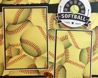SOFTBALL 12 x 12 Premade Scrapbook Layout - Softball Page
