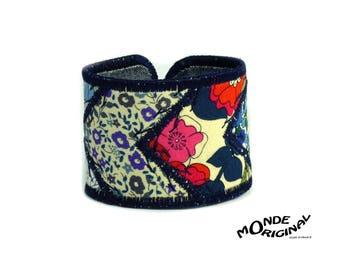 Patchwork Liberty of London fabrics and denim Cuff Bracelet