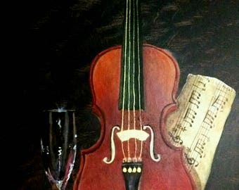 violin painting - violin wall art  - violin art- original painting - acrylic painting - music room decor