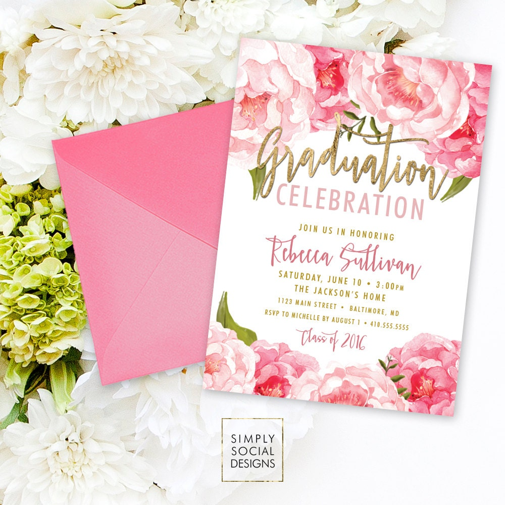 Floral Graduation Party Invitation Pink Peony Ranunculus and