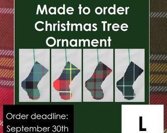 Tartan Stocking Tree Ornament made from tartan starting with L - Lamont, Lauder, Leinster, Lennox, Leslie, Lewis, Lindsay, Logan, Livingston