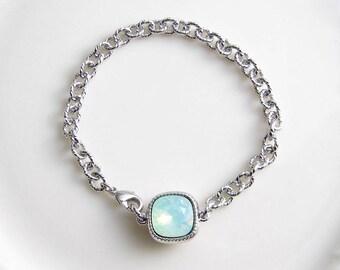 Swarovski Cushion Cut Bracelet ~ Square Crystal Bracelet ~ Chrysolite Opal ~ Chunky Bracelet ~ Bridesmaid Gift ~ Solitaire Bracelet