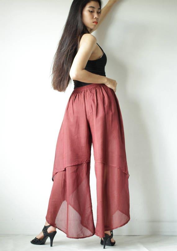 Pantalones de tulipán ... mezclar seda ... M L XL pantalón
