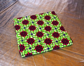 Red Flowers on Lime Green Background 50 cm x 120 cm - Wax Africa