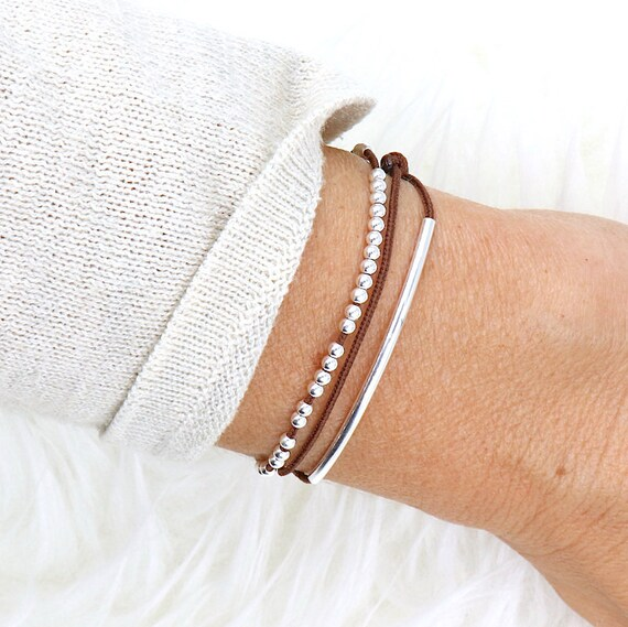 cord bracelet triple towers rod and 925 Silver beads