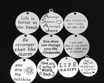 BARGAIN 10pcs Mix Lot Stainless Steel Inspiration Quotes Focal Charms / Pendants