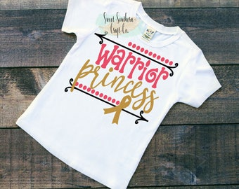 Warrior Princess,Childhood Cancer Awareness, Kids Cancer, Baby and Youth Sizes,Customizable to Other Colors,End Kids Cancer