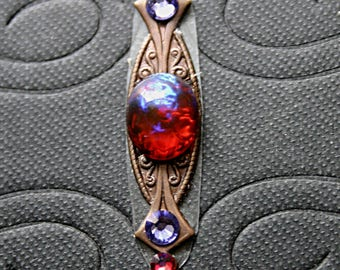 Fire Charmer Bindi - Tribal Fusion, Belly Dance, Facial Jewelry, Third Eye, Steampunk, Red, Lavender