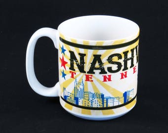 "Vintage NASHVILLE, TENNESSEE MUG - Cup / ""Home of the Grande Ole Opre"" / made in Thailand / 4.25"" Tall Ceramic / Country Music Lover Gift"