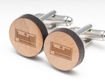 Periodic Table Wood Cufflinks Gift For Him, Wedding Gifts, Groomsman Gifts, and Personalized