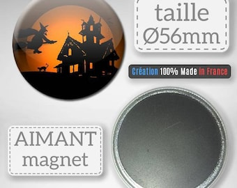 Magnet Magnet Halloween witch haunted house party Badge 56 mm gift decor
