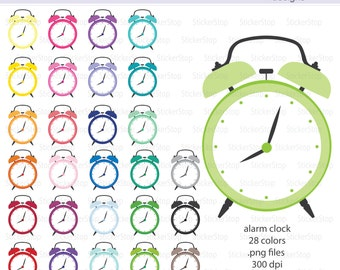 Alarm Clock Icon Digital Clipart in Rainbow Colors - Instant download PNG files