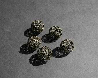 Bronze tone Hollow Twist Ball wire beads x 5.