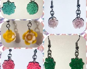 Acrylic Flower OOAK Handmade Earrings