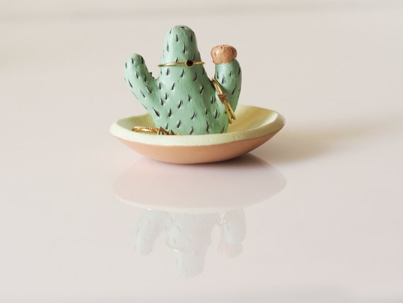 Cactus ring holder with jewelry dish Cactus ring dish