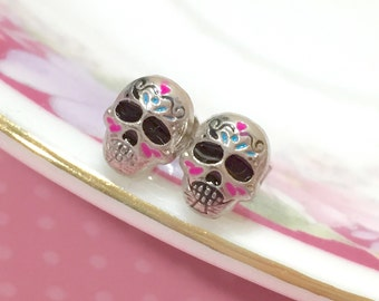 Day of the Dead Jewelry, Halloween Skull Earrings, Painted Sugar Skull Studs, Tiny Metal Skull Studs, Silver Calavera Stud, Cute Scary Stud