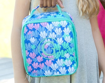 Girls Monogrammed Mint Seashell Lunch Bag Personalized Lunch Tote