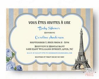 Paris Baby Shower Invitation - Boy Baby Shower Invitation - Baby Boy Parisian Baby Shower Invitation - Baby Girl Paris Baby Shower Invites