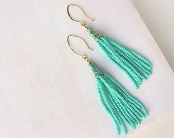 Turquoise Beaded Tassel Earrings, Boho Style Tassel Earrings, Long Tassel Beaded Earrings, Gold and Aqua Beaded Earrings, by Durango Rose