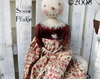 Instant Download Doll Pattern Snowflake PDF Farmhouse Everyday Primitive E Patterns E-Pattern Cloth Fabric Sewing Vintage Style Kim Kohler