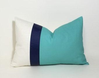 Aqua navy & cream Colorblock pillow cover ~ lumbar pillow cover,accent throw pillow, home decor accent