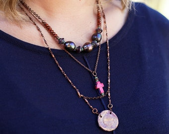 Layered necklaces for women, Layered bohemian pearl necklace for her, Boho cross necklace, Cross pendant necklace for women,