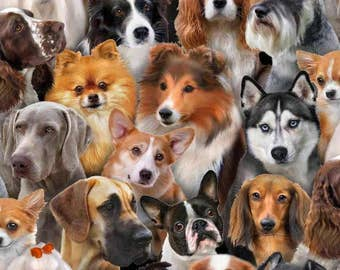 Elizabeth's Studio - Dog Breeds - Dog Breeds All Over - Fabric by the Yard 1314E-BLK