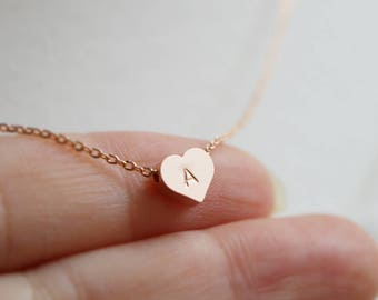 Personalized Tiny Heart necklace, Initial heart, Bridesmaid necklace, Bridesmaid gift, Wedding necklace, Mothers day gift, Rose gold