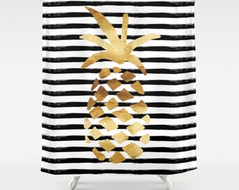 black white gold shower curtain. Shower Curtain  Pineapple And Stripes Gold Black White 71 X74 Watercolor Bathroom Rug Bath Mat Blue Pink